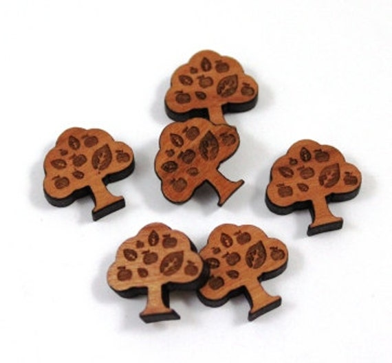 Laser Cut Supplies-8 Pieces.Apple Tree Charms - Laser Cut Wood -Earring Supplies- Little Laser Lab Sustainable Wood Products