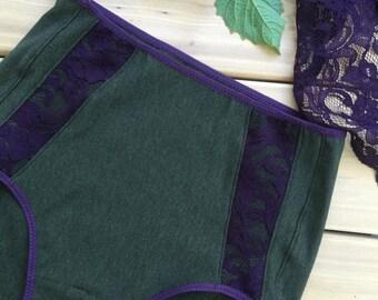 High waist organic panties in forest green knit jersey, handmade lingerie