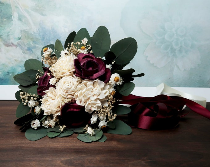 Small boho bridesmaid wedding bouquet dark wine ivory sola flowers preserved eucalyptus gypsophila dried flowers vintage style long ribbons