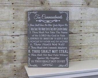 Ten Commandments Bible Wood Sign - 10 Commandments Wall Art - Exodus 20 Sign - Christian Wall Art - Inspirational Art - Religious Home Decor