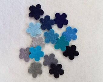 Wool Blend Felt Flowers - Sky assortment 14 or 28  pcs Blues Grays