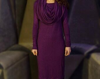 Pencil dress, Eggplant dress, Collared dress, Fall dress, Multiway dress, Romantic dress, Fantasy dress