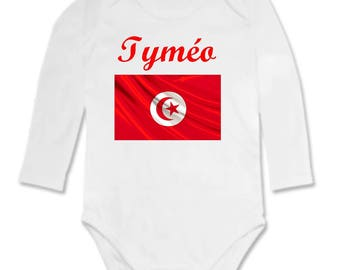 Bodysuit Tunisia flag personalized with name