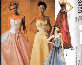 McCall's 3853 Evening Elegance Boned Top And Skirt Dress Sewing Pattern UNCUT Size 12, 14, 16, 18