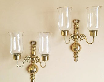 Classic Brass Sconces / Candle Sconce Pair / Entryway Lighting / Dining Room Decor / Hurricane Scones / Double Arms / Brass Wall Hangings