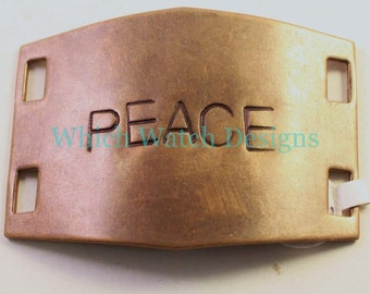 "Large Hand Stamped ""PEACE"" Bracelet Connector.. Natural brass cuff bracelet connector for beaded watch bands"