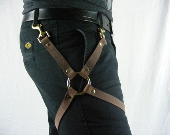 Leather Leg Harness Brown