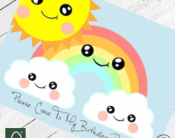 Cute Sun Rainbow & Cloud Party Invitations 16 per pack Kawaii Party Invites