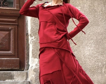 SALE NEW  Burgundy Cotton  Maxi Skirt /  Extravagant Long Skirt / Asymmetrical Unique Spring Maxi Skirt by AAKASHA A09385