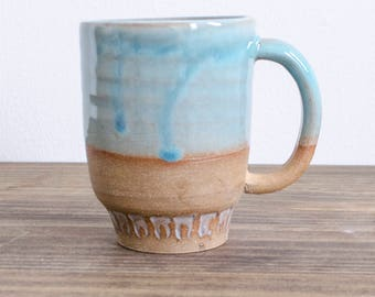 Turquoise Handmade Mug with Tooth Detail