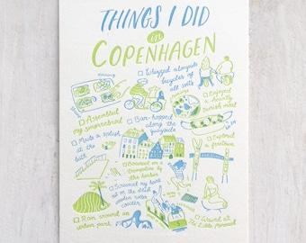 Things I Did in Copenhagen Letterpress Postcard