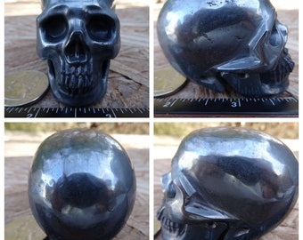 "2.41"" 10.8oz 305.8g Hematite Skull Realistic Crystal Healing Magick Metaphysical Mystic Reiki Wicca Altar Silver Large 3 inch SK2650"