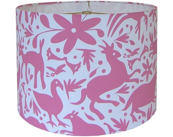 Lamp Shade Lampshade Mexican Springtime by an Independent Designer Otomi Dusty Rose on White Made to Order