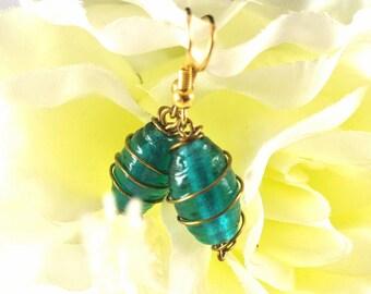 Blue Glass Bead Wire Wrapped Dangle Earrings Turquoise Glass Earrings Wire Wrapped Earrings Vintage 80 Earrings
