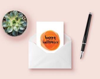Halloween watercolor card, printable greeting card for a happy halloween, printable card, halloween card, digital download