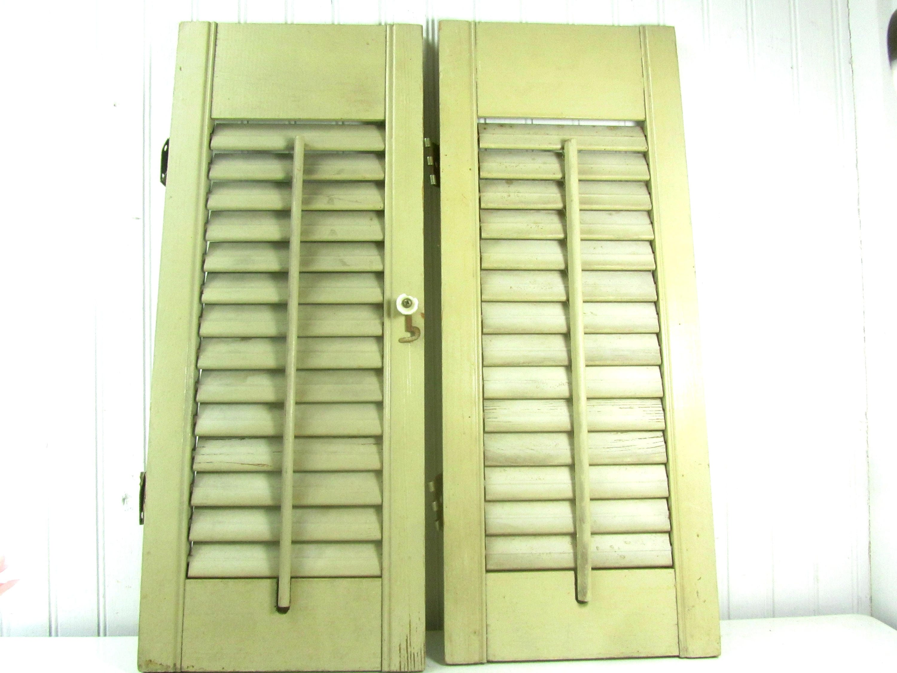 Vintage shutter window Shabby chic decor two shutters