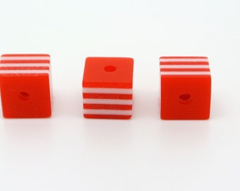 Perle Cube, red, white, synthetic