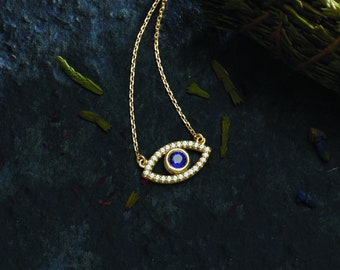 Solid Gold Gemstone Evil Eye Necklace - White and Blue Sapphires. 14k, 18k Yellow, Rose, White Gold & Platinum. Spiritual Fine Jewelry