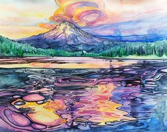 Trillium Lake,Mt Hood,mountain art,art print,digital print,metal print,Oregon,Pacific Northwest,Hood River, Bend,sunset,reflection,wall art