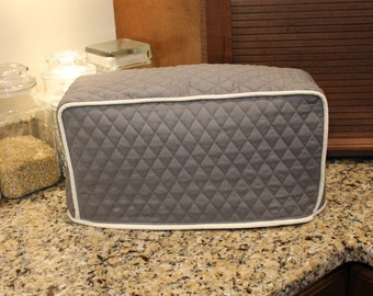 Long Toaster Cover (2 or 4 Slice) - 610+ color combos - Custom Sized  - Any Brand! (Gray/Cream Trim Shown) Great Gifts!  Gift under 30
