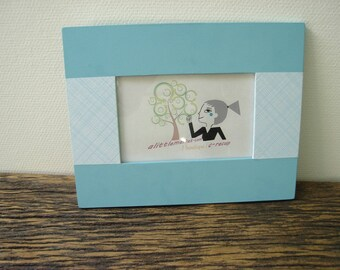 paper stripe and blue photo frame