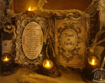 Primitive Book of Spells Halloween Spell Book