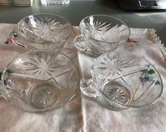 Set of 4Anchor Hocking Clear Crystal Starburst Pattern Punch Glasses,Prescut Glasses Replacement Glasses 1960's