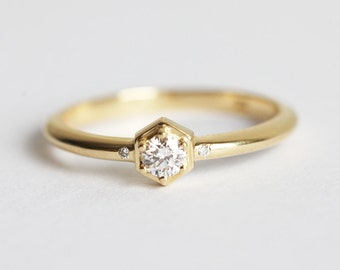 Hexagon Diamond Ring, Delicate Diamond Ring, Yellow Gold Diamond Ring, Modern Diamond Ring, Modern Engagement Ring, simple Diamond Ring