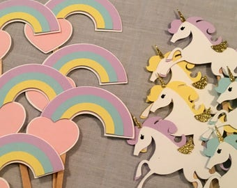 12 Unicorn and Rainbow cupcake toppers, Rainbow party, Unicorn party, Fantasy party