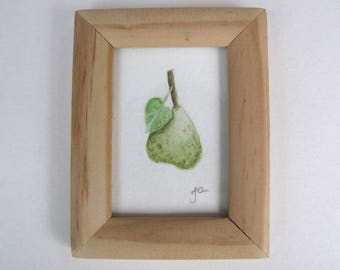 Original signed and framed miniature water colour painting of a pear