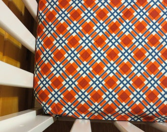Orange and Blue Plaid- Baby/ Toddler Crib Sheet-Fitted Crib Sheet-Sheets- Bedding-Nursery-