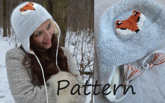 Earflap Hat Knit Pattern Pattern Knitted Trapper Hat For Women Hat