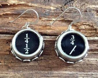 Typewriter Key Earrings, Vintage Typewriter Jewelry, Teacher Gift Idea, Number Jewelry, Number Earrings, Writer Earrings, Sterling Earrings
