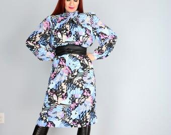 1980s Dress - Abstract Print Midi Shift Dress - Long Sleeve - High Neck - Bold Vivid Print - Belted - Feminine Vintage Day Dress - M/L