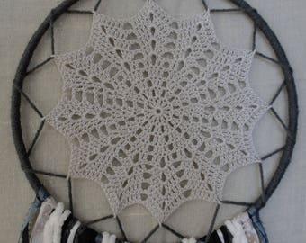 Gray & White Snowflake Crochet Dreamcatcher, Boho, Bohemian, Lace, Dream Catcher, Wall Decor, Ribbon, Baby Shower, Nursery