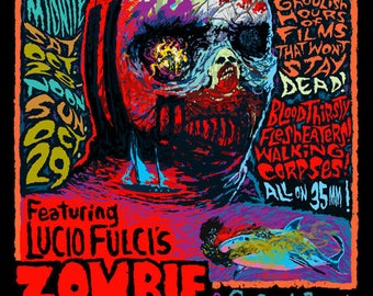 2017 Coolidge Corner Theatre Halloween Horror Marathon Fulci ZOMBIE Signed poster by Mister Reusch