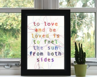 Love Quote Print // Embroidery // A4 Print // Inspirational Quote // Illustration // Wall Art // Unframed // Quote