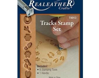 Realeather Crafts Leathercraft Tracks Stamp Set T4913 8 Leather Stamps
