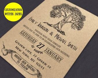 Rustic Wedding invitation template download - Wedding invites rustic diy - Printable wedding invitation set - wedding invitations with rsvp