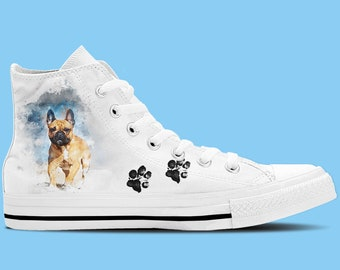 French Bulldog Artwork High Top Shoes / Sneakers - Dog lovers shoes