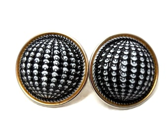 SALE Vintage MoD Black & White Earrings Clip AToMIC Button Domed 1960s Groovy Great Fashion Wow