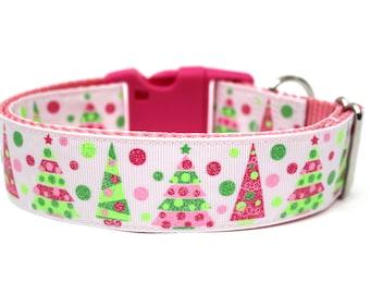 """Holiday Dog Collar 1"""" or 1.5"""" Pink Christmas Dog Collar"""