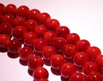 marbled glass 8 mm - red orange marbled Brown PG48 20 beads