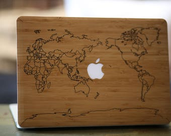 Macbook wood etsy macbook wood case for apple mac air pro 11 13 inch world map bamboo mac gumiabroncs Gallery