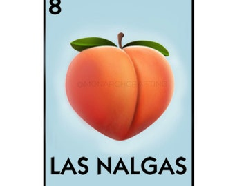 "2""x3.5"" Loteria Inspired Nalga Sticker (Las Nalgas Peach Emoji Sticker)"