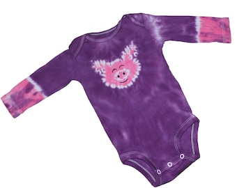 Tie Dye Bodysuit in Purple with a Hot Pink Pig-Size 3 months and READY TO SHIP