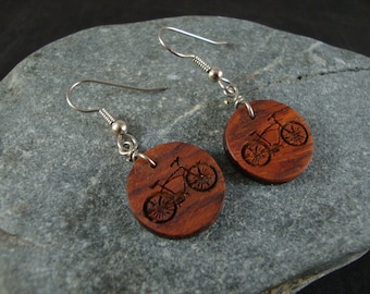 Round Dangle / Hoop Earrings - Small - Cruiser Bike / Bicycle engraved in Cocobolo Wood - Natural and Eco Friendly Jewelry