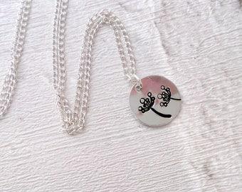 Flowers Pendant, Necklace, Hand Stamped, Circle, Aluminium
