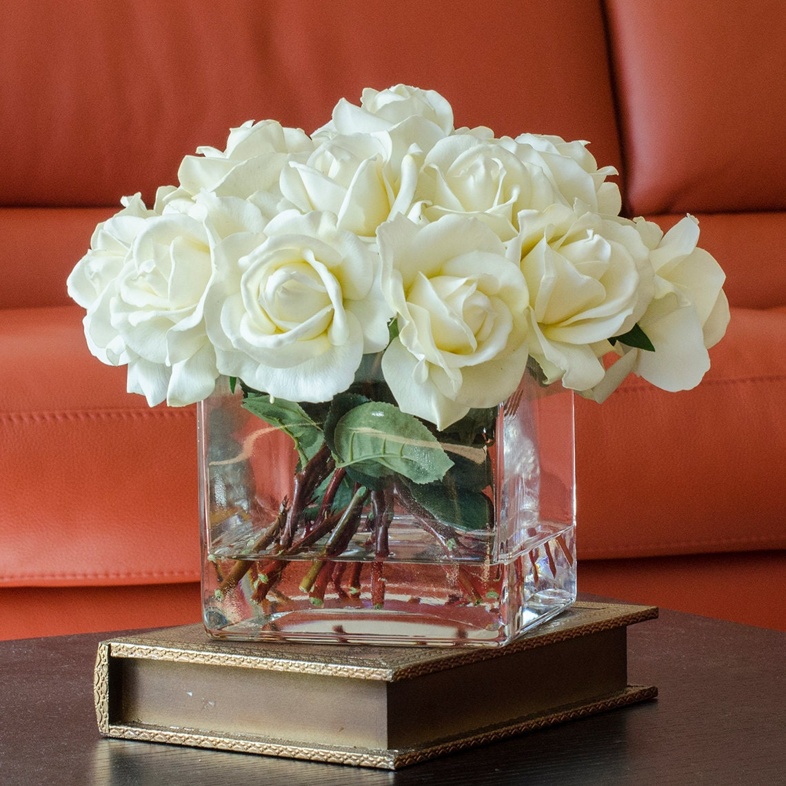 Large white real touch rose arrangement with square glass vase request a custom order and have something made just for you reviewsmspy