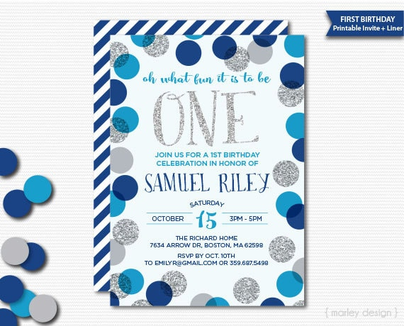 First birthday invitation printable boys birthday blue silver first birthday invitation printable boys birthday blue silver glitter polka dots confetti birthday invitation digital oh what fun invite filmwisefo Choice Image